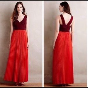 Anthropologie Moulinette Souers Red pleated maxi
